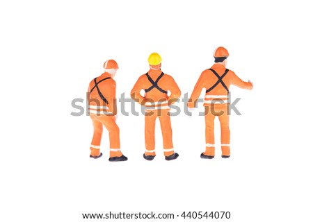 Close up of Miniature people in engineer and worker occupation isolate on white background. Elegant Design with copy space for placement your text, mock up for industrial and construction concept - stock photo
