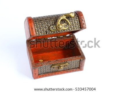Close up of miniature treasure chest made from wood on a isolated background