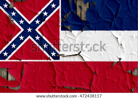 Close-up of Mississippi flag on a cracked wall, background texture (High-resolution 3D CG rendering illustration)
