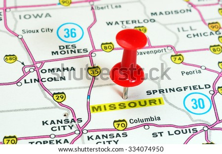 Close Colorado State Usa Map Red Stock Photo Shutterstock - Missouri in usa map