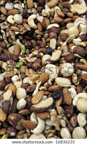 Close-up of mixed nuts. Could be used as a background.