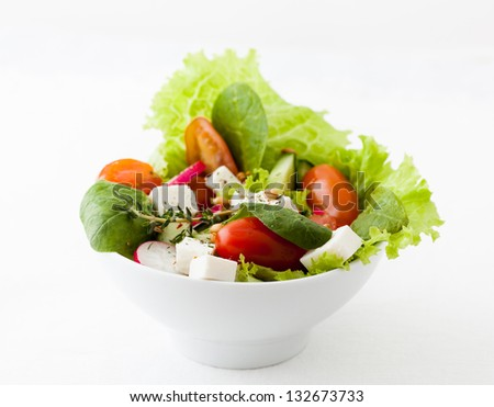 close up of mixed vegetable salad