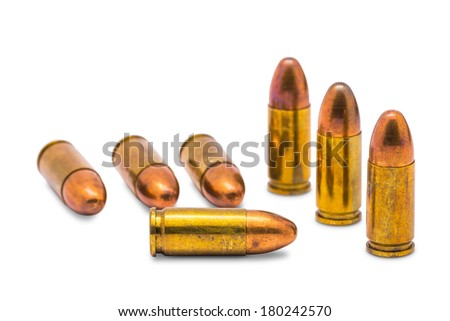 Close up of 9 mm. bullets, isolated  on white background with clipping path - stock photo