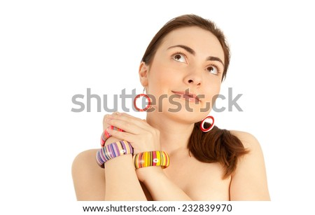 Close-up of model with accessories isolated on white - stock photo