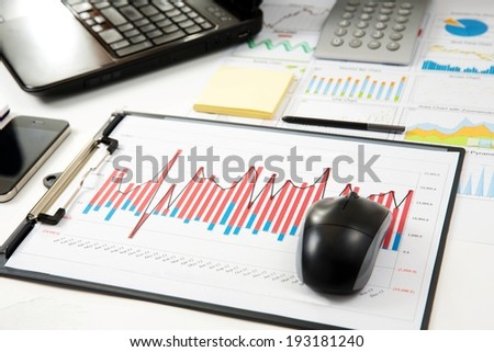 Close up of modern business details. - stock photo