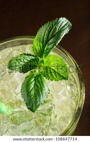 close-up of mojito cocktail - stock photo