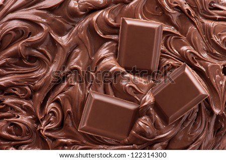 Close up of molten chocolate and pieces of chocolate bar - stock photo