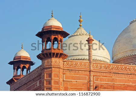 Close up of Mosque in Taj Mahal, India - stock photo