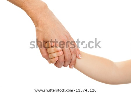 Close up of mothers hand holding babies hand. Isolated on white background. - stock photo