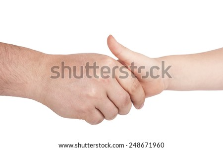 Close up of mothers hand holding babies hand. Isolated on white background - stock photo