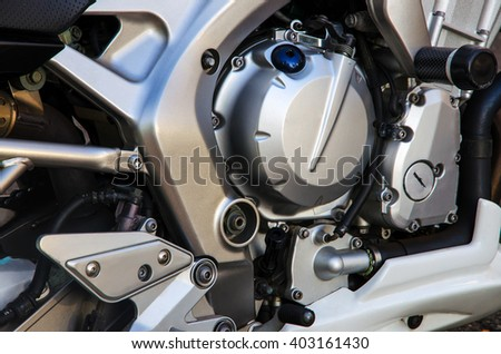 Close up of motorcycle engine,  background  - stock photo