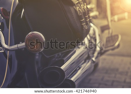 close up of motorcycle exhaust - stock photo