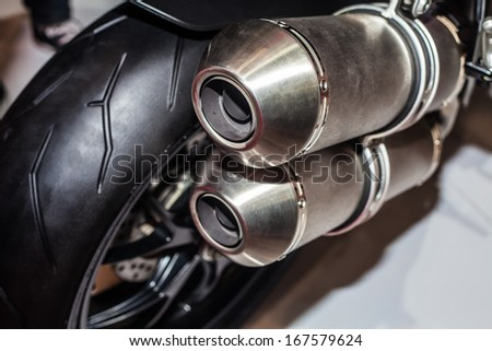 Close up of motorcycle exhaust, Bigbike - stock photo