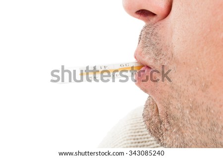 Close-up of mouth and thermometer as flu and high temperature concept