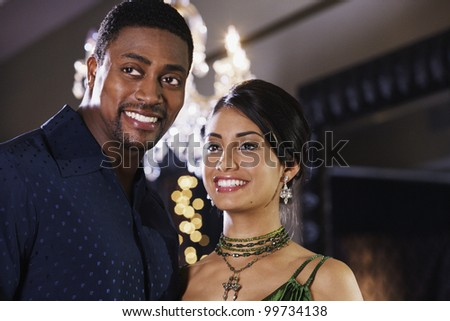Close up of multi-ethnic couple smiling