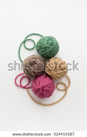 Close up of multicolor balls of yarn