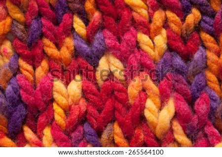close-up of  multicolored knitted background - stock photo