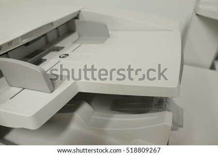 close up of multifunction printer, office copy machine