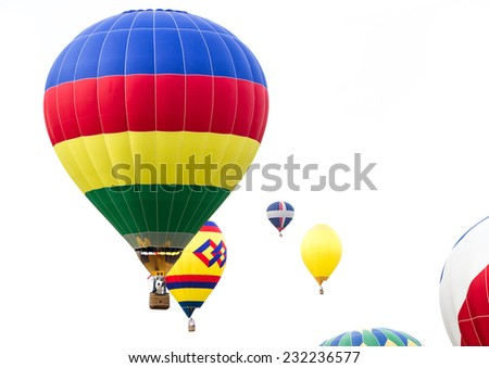 close up of multiple hot air balloons in mid air in Albuquerque New Mexico