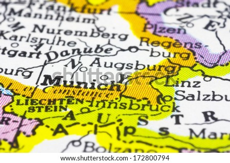 close up of Munich on map, city of Germany. - stock photo