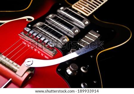 Close up of music guitar - stock photo