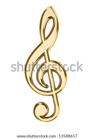 Close up of musical note isolated on white background - 3d render