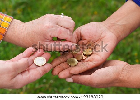 Close up of needy and dirty hands - stock photo