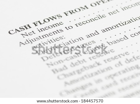close up of net income financial statement - stock photo