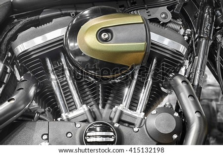 Close up of new motorcycle engine block  - stock photo