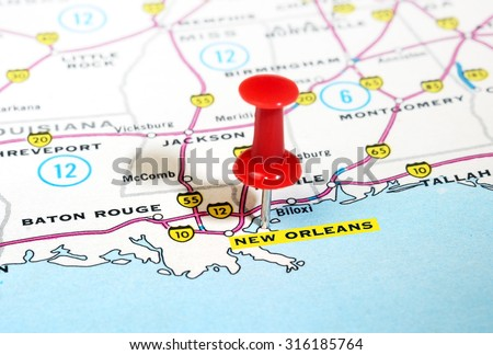 Close up of  New Orleans  USA map with red pin - Travel concept - stock photo