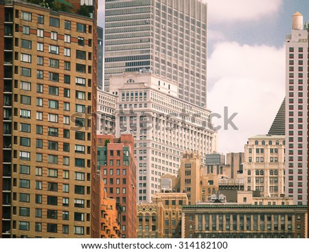 Close up of New York skyline at the historic and modern financial district - stock photo