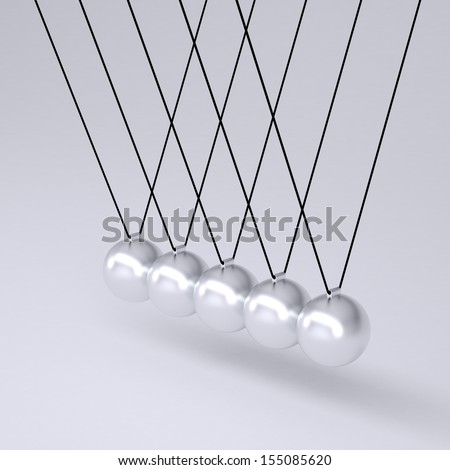Close up of Newton's cradle. Isolated render on gray background