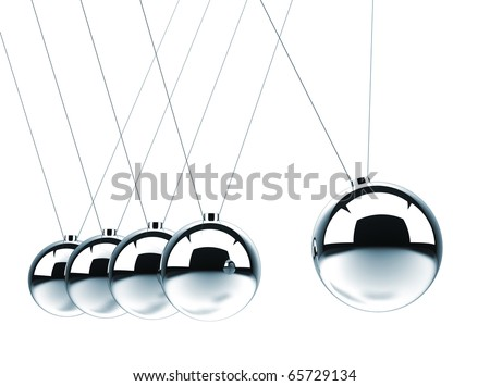 Close up of Newton's cradle - this is a 3d render illustration - stock photo