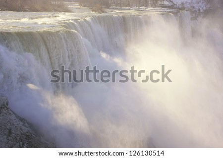 Close up of Niagara Falls in winter, New York, USA