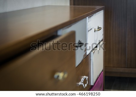 Close up of night table in bedroom interior