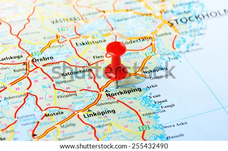 Close up of Norrcoping,Sweden map with red pin - Travel concept  - stock photo
