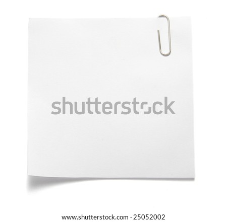 close up of note pad reminder on wall, with clipping path
