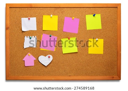 close up of note papers on cork board with clipping path on cork board - stock photo