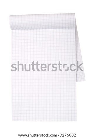 Close-up of notepad with grid isolated on white. Clipping path included.