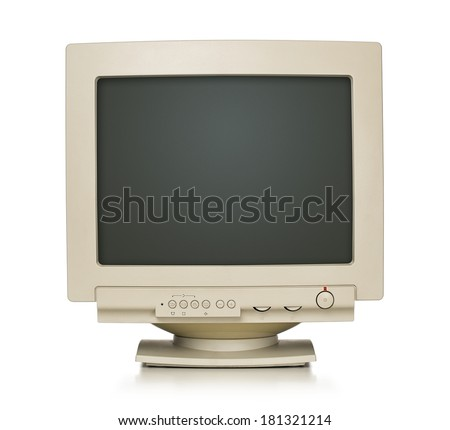 Close up of old computer monitor isolated on white background with clipping path for the screen - stock photo