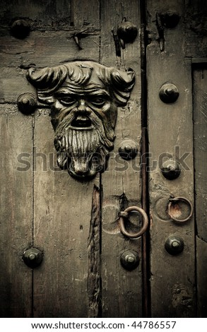 Close-up of old doors Cartagena, Colombia - stock photo