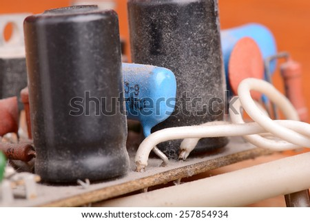 close-up of old electronic circuit board - stock photo