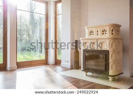 Close-up of old-fashioned stove in luxury interior - stock photo