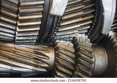 Close up of old gearbox gears - stock photo
