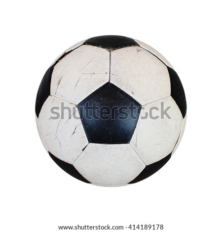 Close up of old soccer ball isolated on white background, Clipping path included. - stock photo