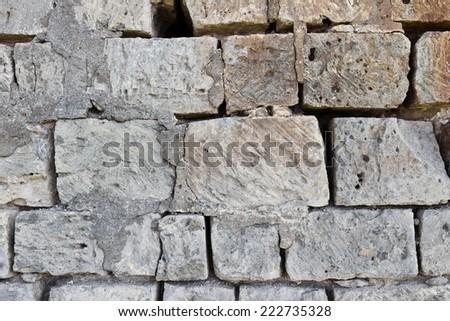 Close up of old stone masonry gray color - stock photo