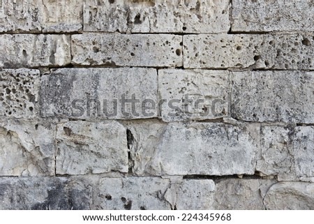 Close up of old stone masonry gray color - stock photo