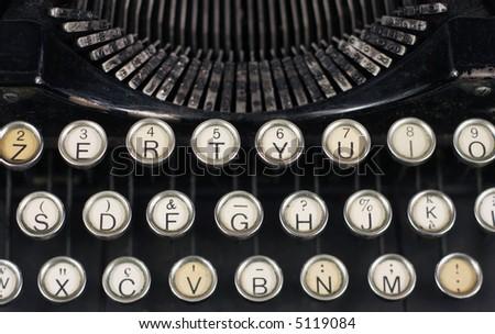 close-up of old typewriter keys - stock photo