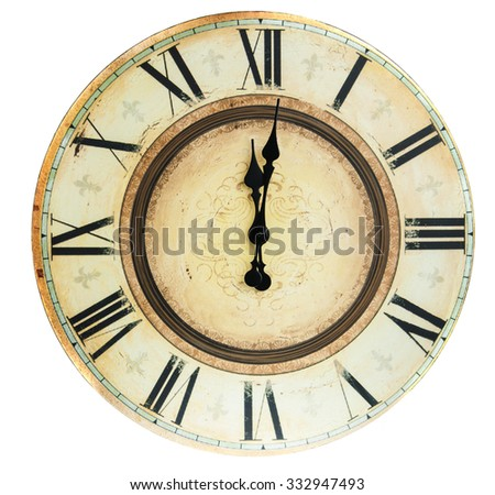 close up of old vintage clock isolated on white