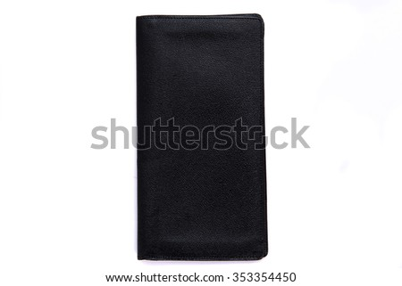 Close up of old  vintage leather wallet on white background isolated